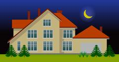 New family house in the night Stock Illustration