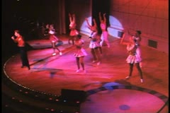 Stage Show on a cruise ship, dancers, singers, showgirls, lavish costumes Stock Footage