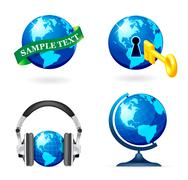 Globe icon set Stock Illustration