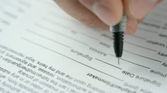 Signing a contract. Close view. HD video - stock footage