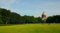 Lawn near isaakiy cathedral church in Saint-petersburg Stock Footage