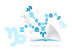 Astrological book with sign of zodiac Stock Illustration