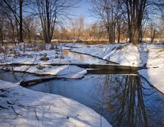 winter blue stream - stock photo