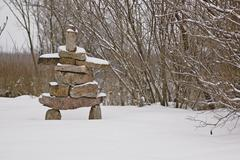 winter inukshuk - stock photo
