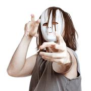 crazy scary masked man - stock photo
