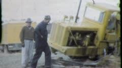Stock Video Footage of CRASH CONSTRUCTION Earthmover 1950s (Vintage Film Retro Home Movie) 4630