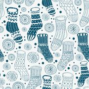 Seamless background with decorative winter stockings Stock Illustration