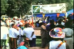 Labor Day picnic in Hamilton, Bermuda, food stands and people Stock Footage