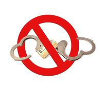 symbol prohibiting handcuffs - stock photo