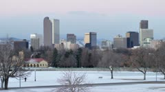 Denver Colorado Winter with Jogger Stock Footage