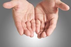 open blank hand - stock photo