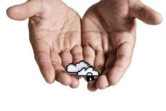 open hand holds pixel cloud network sign - stock illustration