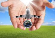 Stock Illustration of hand holds airbus plane and globe