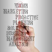Stock Illustration of business man writing business strategy