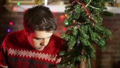 Christmas depressed sad depression Stock Footage