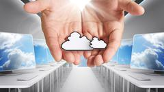 Stock Illustration of pixel cloud network icon computer