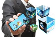 Business hand shows touch screen mobile phone with 3d streaming images Stock Illustration