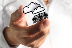 3d pixel cloud network icon - stock illustration