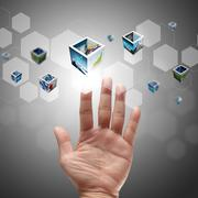 Stock Illustration of hand pushing on a touch screen interface