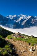 a beautiful view of the french alps - stock photo
