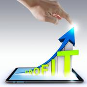 Stock Illustration of hand pointing profit graph on touch screen ,touch- tablet