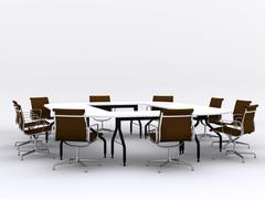 Conference table and chairs in meeting room Stock Illustration