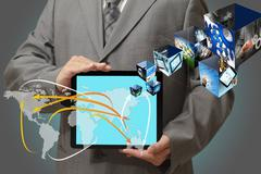 Stock Illustration of touch tablet concept images streaming