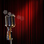 retro microphone and red curtain - stock illustration