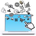 Laptop computer with pixel computer icons Stock Illustration