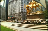 Stock Video Footage of The Plaza Hotel, New York City, General Sherman gilded statue in front