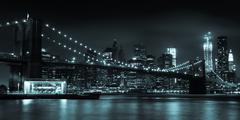 manhattan skyline by night from brooklyn bridge park - stock photo