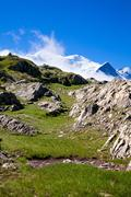 A beautiful view of the french alps Stock Photos