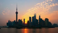 Stock Video Footage of Shanghai Sunrise Zoom Time Lapse