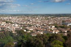 aerial view of the city of nimes in france - stock photo