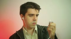 Mp3 player music listen Stock Footage