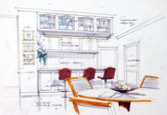 Stock Illustration of design sketch of kitchen interior