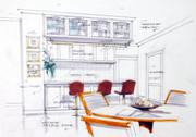 Stock Illustration of design sketch of kitchen interior