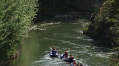 Groups of rafters following each another . - stock footage