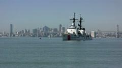 San Francisco skyline and a Coast Guard cutter Stock Footage