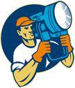 Film lighting crew holding a spotlight Stock Illustration