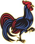 rooster cockerel marching side woodcut - stock illustration