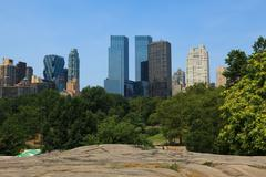 Manhattan skyline view from central park Stock Photos
