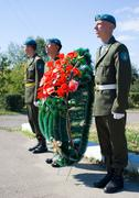 Wreath laying to afghanistan soldiers Stock Photos
