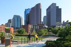 Skyline of the financial district of boston Stock Photos
