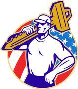 Locksmith holding key with american flag Stock Illustration