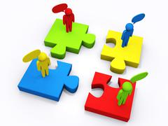 Stock Illustration of linear puzzle people as concept