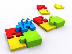 Stock Illustration of completing the puzzle