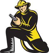 Fireman firefighter kneel aim fire hose Stock Illustration