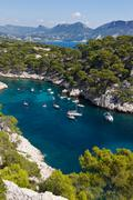 Calanques of port pin in cassis Stock Photos