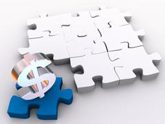 Stock Illustration of the missing piece is finance in 3d puzzles